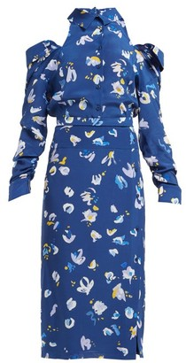 Altuzarra Chiara Cut Out Floral Print Silk Crepe Midi Dress - Womens - Blue Multi