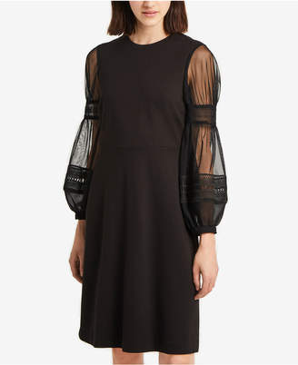 French Connection Mesh & Lace Bubble-Sleeve Dress