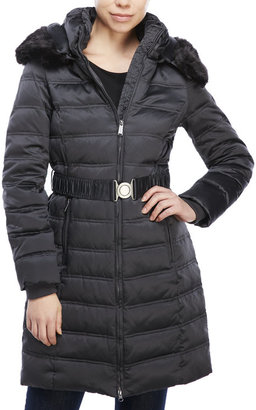 dkny Belted Down Coat with Faux Fur Trim $240 thestylecure.com