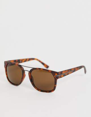 French Connection square sunglasses in tort