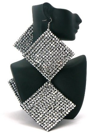 2 Pairs of Silver Square Poparazzi Iced Out Light Weight Basketball Wives Earrings Lady Gaga Paparazzi