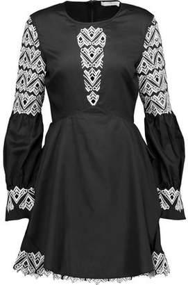 Jonathan Simkhai Guipure Lace-Paneled Cotton-Poplin Mini Dress