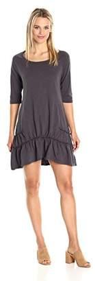 True Grit Dylan by Women's Luxe Cotton Slub Raglan Half Sleeve Scoop Neck Rouched Dress