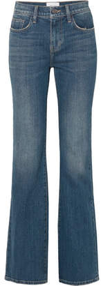 Current/Elliott The Jarvis Distressed High-rise Flared Jeans - Mid denim