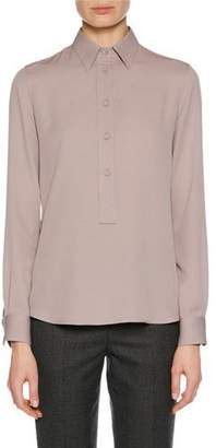 Giorgio Armani Long-Sleeve Button-Front Stretch-Silk Blouse