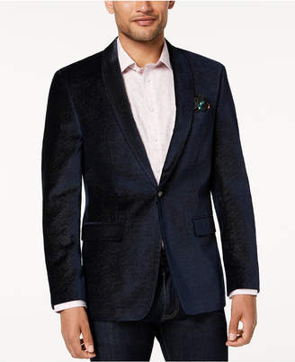 Tallia Men's Big & Tall Slim-Fit Navy Pindot Velvet Sport Coat