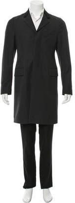 Alexander McQueen Velvet-Trimmed Wool Overcoat
