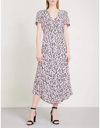 Maje Floral-print silk-crepe dress