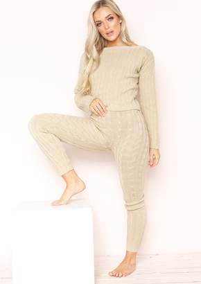 bc51d8f193 Missy Empire Missyempire Adele Beige Cable Knit Crop Loungewear Set