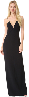 Alexander Wang V Neck Slip Gown with Sheer Insert $1,195 thestylecure.com