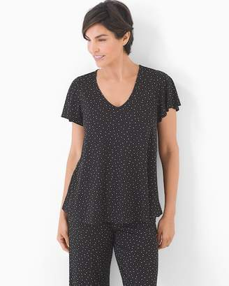 Cool Nights Lace Back Short Sleeve Pajama Top Festivity Black