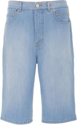 Tibi Trish Long Denim Shorts