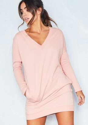 b97c11cb8f0 Missy Empire Missyempire Amira Pink V Neck Pocket Jumper Dress