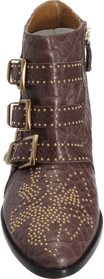 Chloé Python Susan Studded Ankle Boot