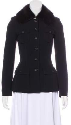 Prada Fur-Trimmed Wool Jacket