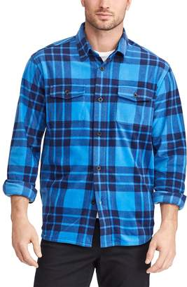 Chaps Big & Tall Regular-Fit Plaid Fleece Shirt Jacket