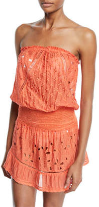 Ramy Brook Kalani Embroidered Strapless Coverup Dress