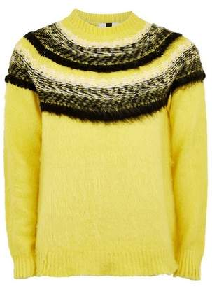 Topman Mens Yellow Brushed Fair Isle Sweater