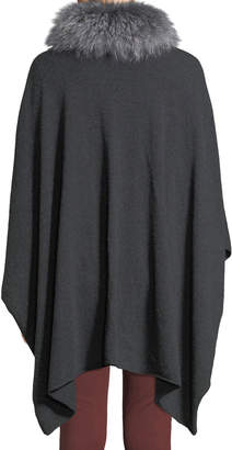 Neiman Marcus Wool-Blend Poncho with Fox Fur Cowl, Gray