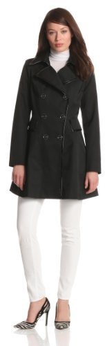 Via Spiga Women's Water-Resistant Spring Coat With Patent Trim and Corset Back Detail