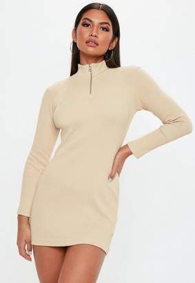 Missguided Petite Sand Zip Front Ribbed Bodycon Dress