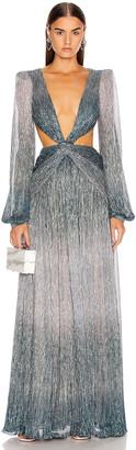PatBO Ombre Lurex Cutout Gown in Cyan | FWRD