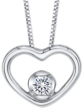 "Sirena Diamond Open Heart 18"" Pendant Necklace (1/8 ct. t.w.) in 14k White Gold"