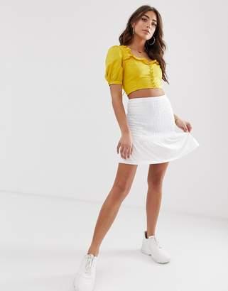 Asos Design DESIGN shirred bask waist mini skirt
