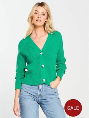 Very Rib Detail Button Short Cardigan - Green