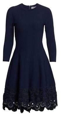 Lela Rose Crochet Hem Fit-And-Flare Dress
