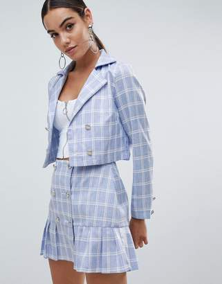 Missguided Cropped Check Tailored Jacket