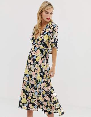 Liquorish wrap maxi dress with tie belt detail in retro floral print