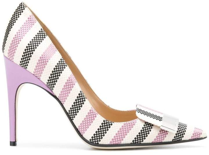 Sergio Rossi striped pointed toe pumps