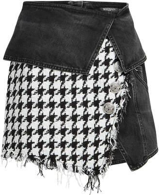 Balmain Mixed Denim Tweed Mini Skirt