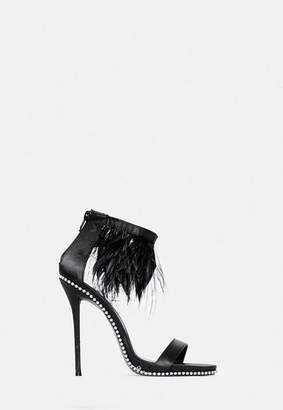 Missguided Black Feather Cuff Heeled Sandals