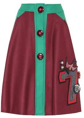 Miu Miu Embellished wool skirt