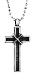 Steel by Design Stainless Steel Antiqued Finish Cross Pendant with Ball Chain