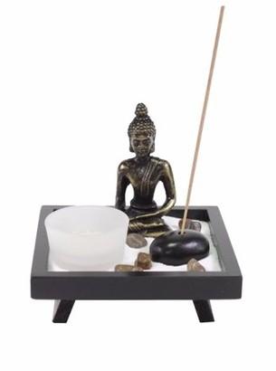JuJu Smiling Tabletop Buddha Zen Garden Rock Candle Holder Incense Burner Gift & Home Decor