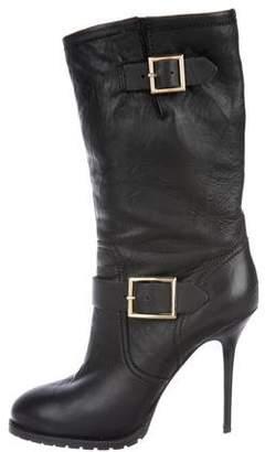 Jimmy Choo Leather High-Heel Boots