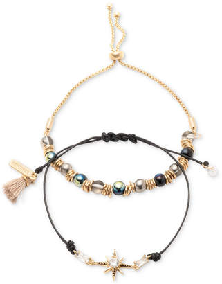 lonna & lilly Gold-Tone 2-Pc. Set Crystal, Bead & Tassel Corded Slider Bracelets