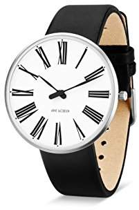 Arne Jacobsen Unisex Quartz Watch with White Dial Analogue Display and Black Leather Strap 53302