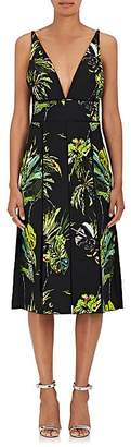 Proenza Schouler WOMEN'S FLORAL SILK CREPE V-NECK DRESS