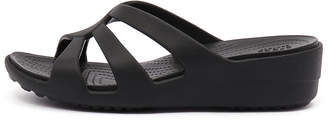 Crocs Sanrah strappy wedge Black Sandals Womens Shoes Casual Heeled Sandals