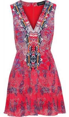 Saloni Elodie Pleated Printed Silk-Chiffon And Crepe De Chine Mini Dress