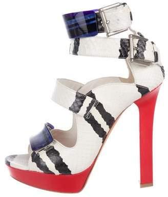 Alexander McQueen Snakeskin Ankle Strap Sandals