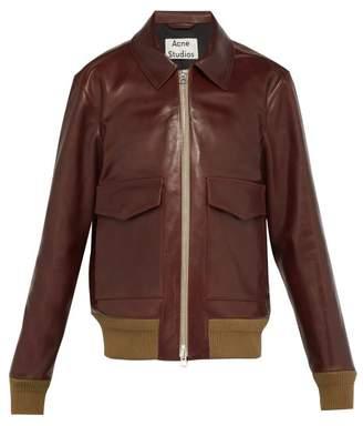 Acne Studios Lazlo Leather Bomber Jacket - Mens - Brown