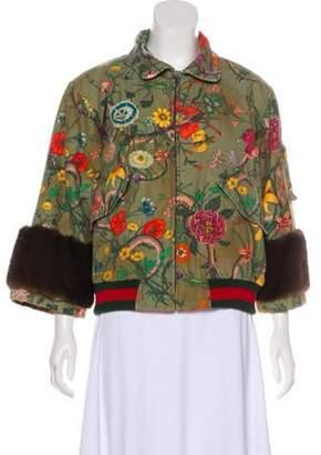 Gucci 2017 Flora Snake Mink-Trimmed Jacket Olive 2017 Flora Snake Mink-Trimmed Jacket