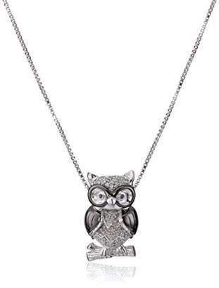 Sterling Silver White Diamond Owl Pendant Necklace (1/10 cttw