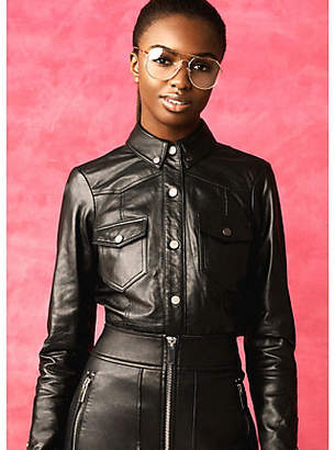 River Island Black RI Studio leather long sleeve shirt