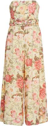 Zimmermann Honour Floral-Print Linen Jumpsuit